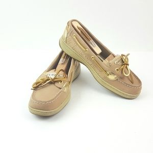 SPERRY|Tan & Gold Top Sider Anglefish Shoes Sz 6.5